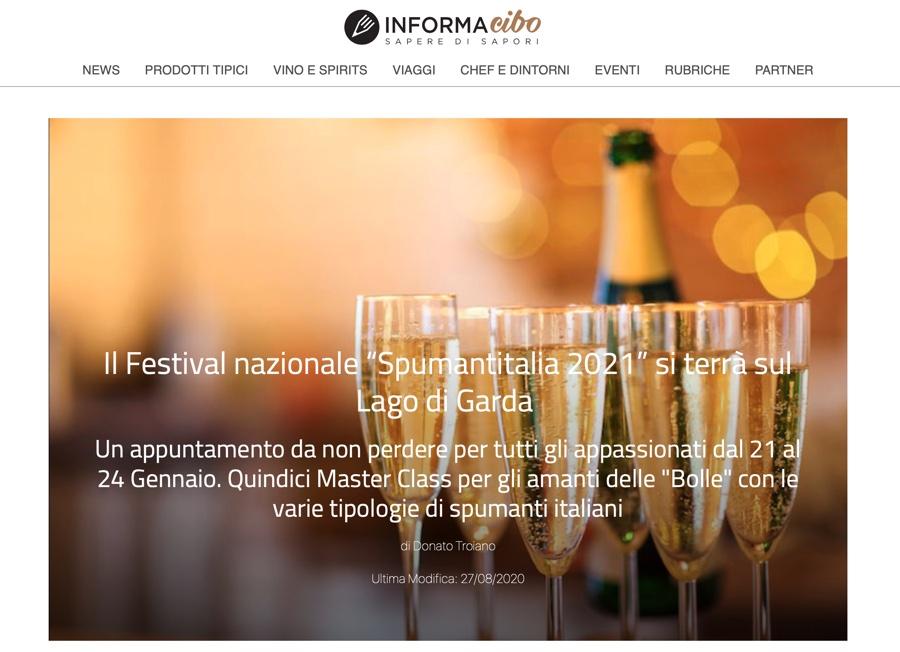 """INFORMAcibo: Il Festival nazionale """"Spumantitalia 2021"""" si terrà sul Lago di Garda"""