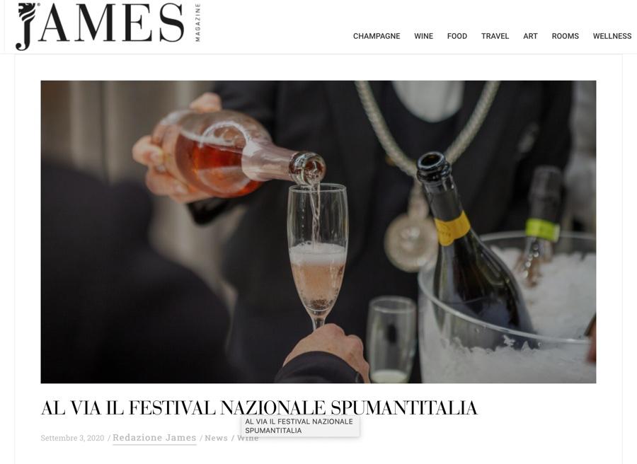 JAMES MAGAZINE: Al via il Festival nazionale Spumantitalia