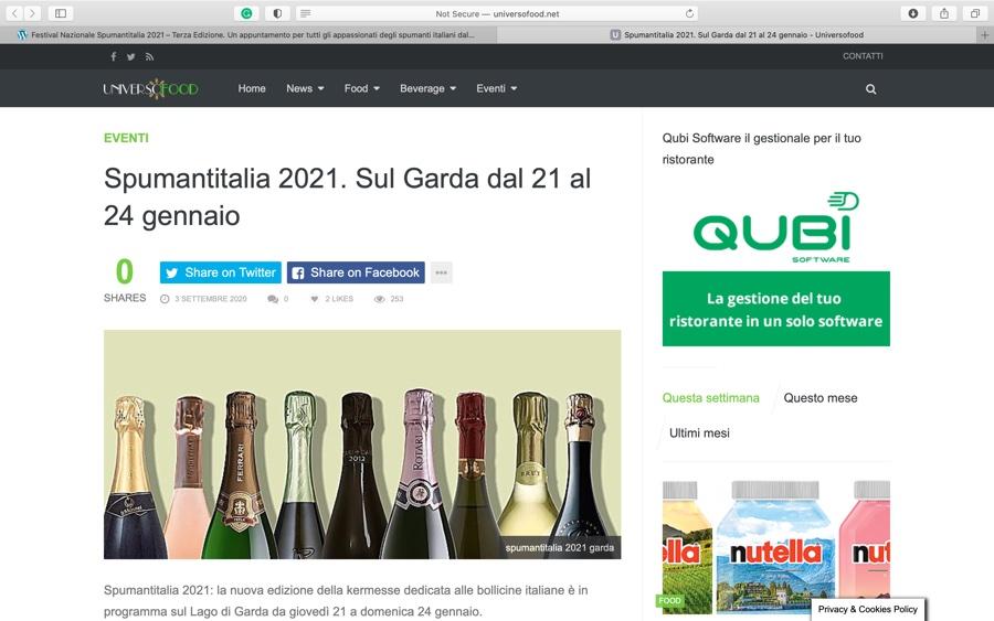 UNIVERSOFOOD: Spumantitalia 2021. Sul Garda dal 21 al 24 gennaio