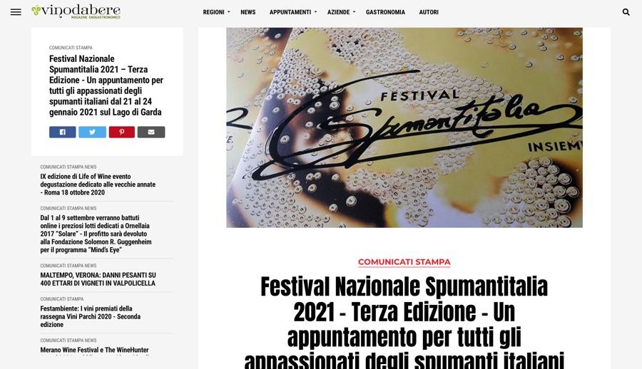 VINODABERE.IT: Un appuntamento per tutti gli appassionati degli spumanti italiani dal 21 al 24 gennaio 2021 sul Lago di Garda
