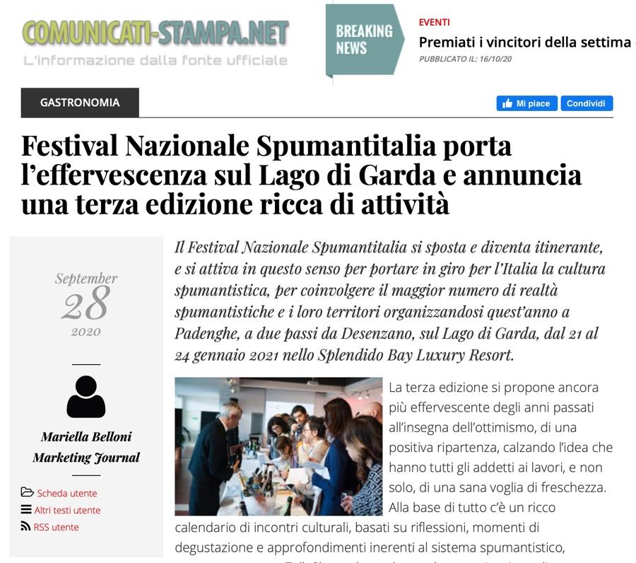 COMUNICATI-STAMPA.NET: Spumantitalia porta l'effervescenza sul Lago di Garda