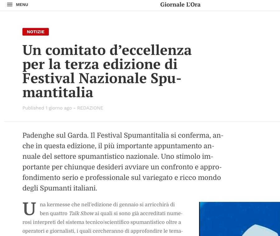 GIORNALE L'ORA: Un comitato d'eccellenza per la terza edizione di Festival Nazionale Spumantitalia