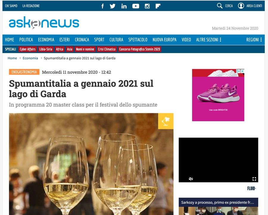 ASK A NEWS: Spumantitalia a gennaio 2021 sul lago di Garda