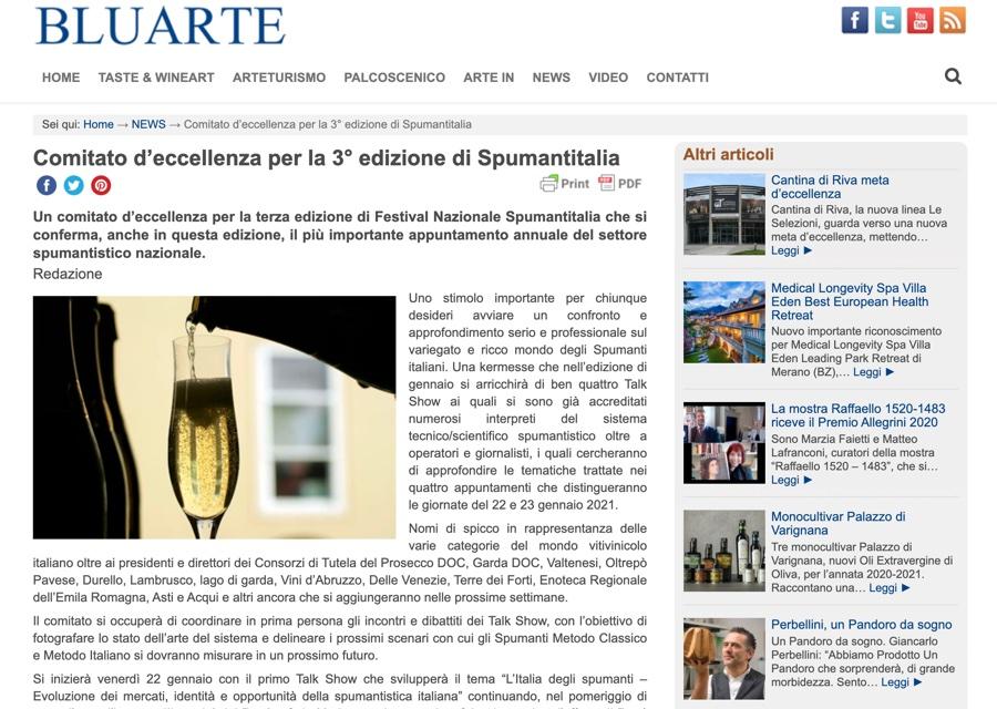 BLUARTE: Comitato d'eccellenza per la 3° edizione di Spumantitalia