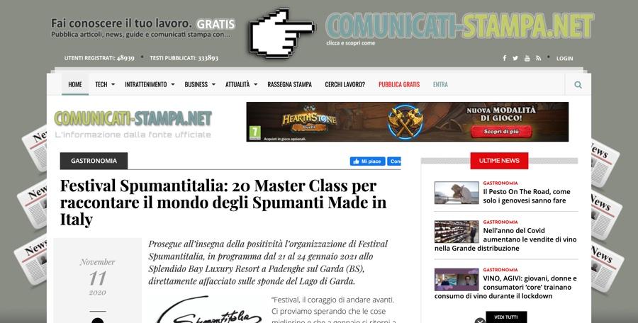 COMUNICATI-STAMPA.NET: 20 Master Class per raccontare il mondo degli Spumanti Made in Italy
