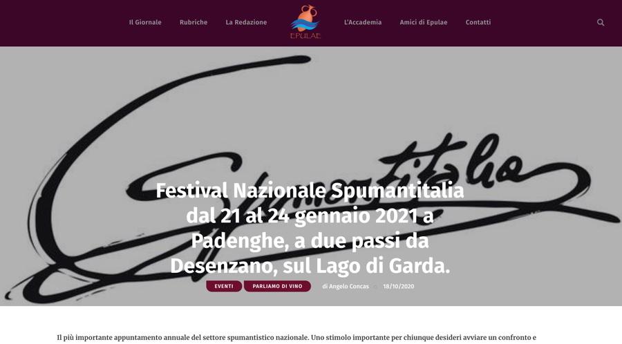EPULAE NEWS: Festival Nazionale Spumantitalia dal 21 al 24 gennaio 2021 a Padenghe, a due passi da Desenzano, sul Lago di Garda