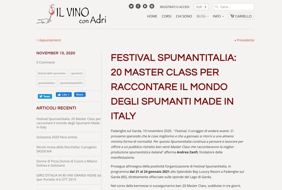 IL VINO CON ADRI: 20 Master Class per raccontare il mondo degli Spumanti Made in Italy