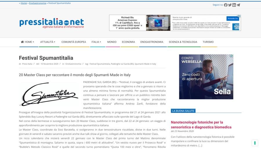 PRESSITALIA.NET: 20 Master Class per raccontare il mondo degli Spumanti Made in Italy