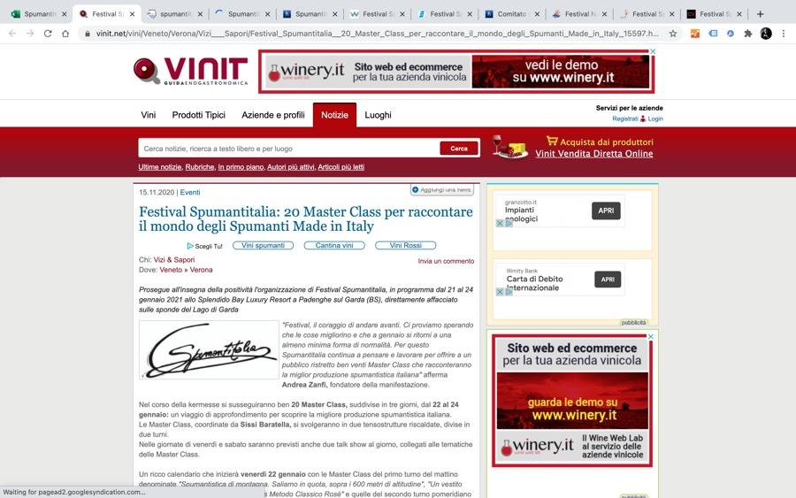 VINIT: 20 Master Class per raccontare il mondo degli Spumanti Made in Italy