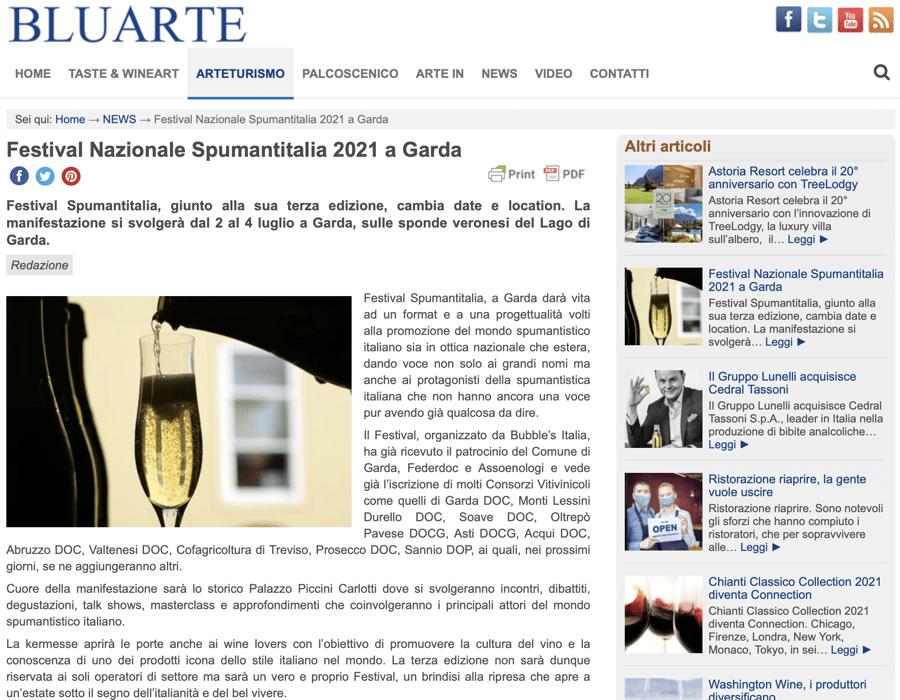 BLUARTE: Festival Nazionale Spumantitalia 2021 a Garda