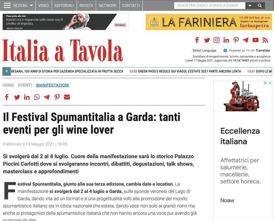 ITALIA A TAVOLA: Il Festival Spumantitalia a Garda: tanti eventi per gli wine lover