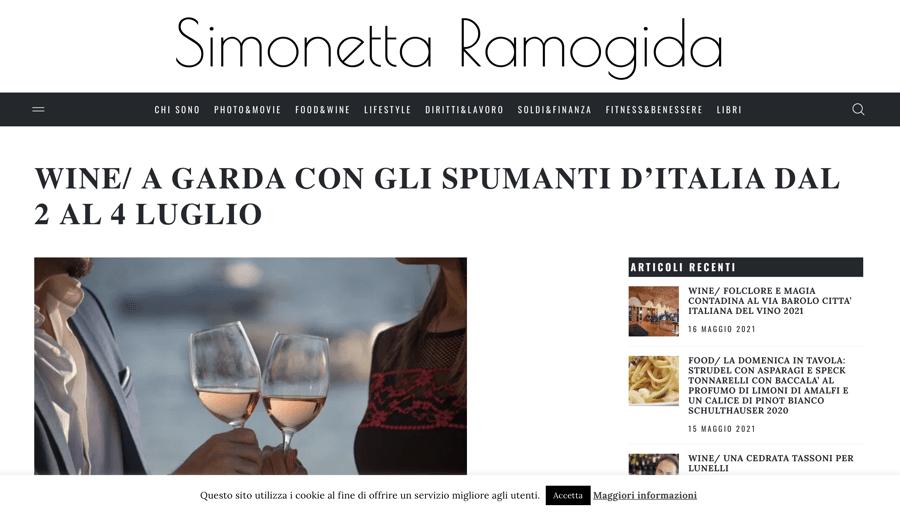 SIMONETTA RAMOGIDA: A Garda con gli spumanti d'Italia dal 2 al 4 luglio