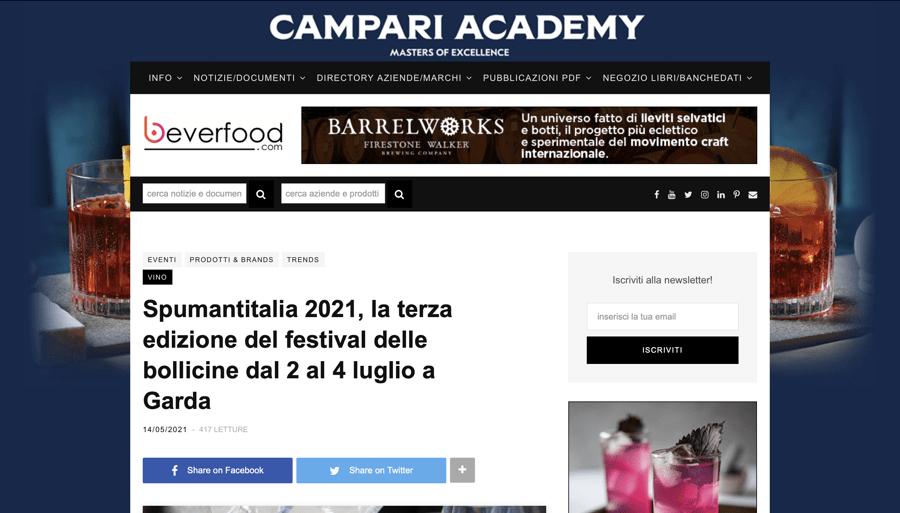 BEVERFOOD: Spumantitalia 2021, la terza edizione del festival delle bollicine dal 2 al 4 luglio a Garda