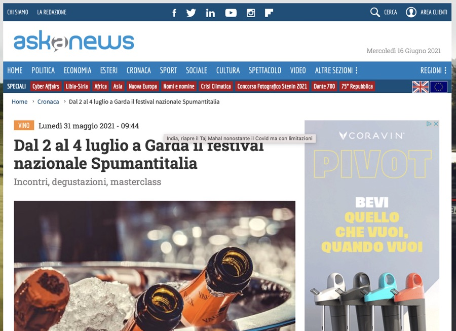 ASK A NEWS: Dal 2 al 4 luglio a Garda il festival nazionale Spumantitalia