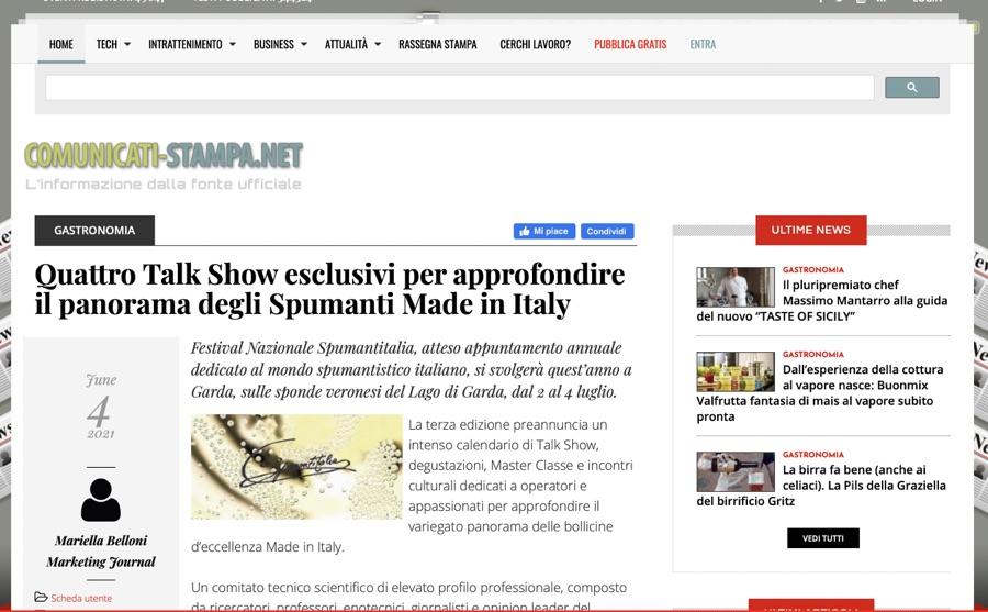 COMUNICATI STAMPA: Quattro Talk Show esclusivi per approfondire il panorama degli Spumanti Made in Italy