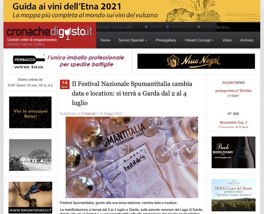 CRONACHE DI GUSTO: Il Festival Nazionale Spumantitalia cambia data e location: si terrà a Garda dal 2 al 4 luglio