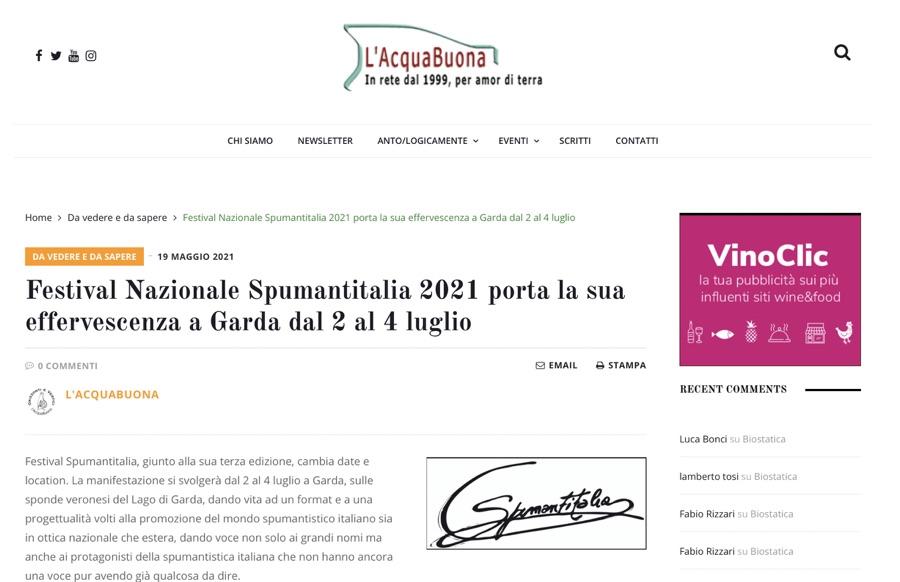 L'AQUABONA: Festival Nazionale Spumantitalia 2021 porta la sua effervescenza a Garda dal 2 al 4 luglio