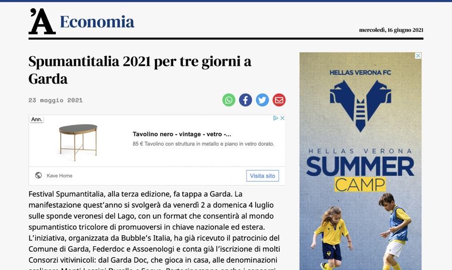 L'ARENA ECONOMIA: Spumantitalia 2021 per tre giorni a Garda