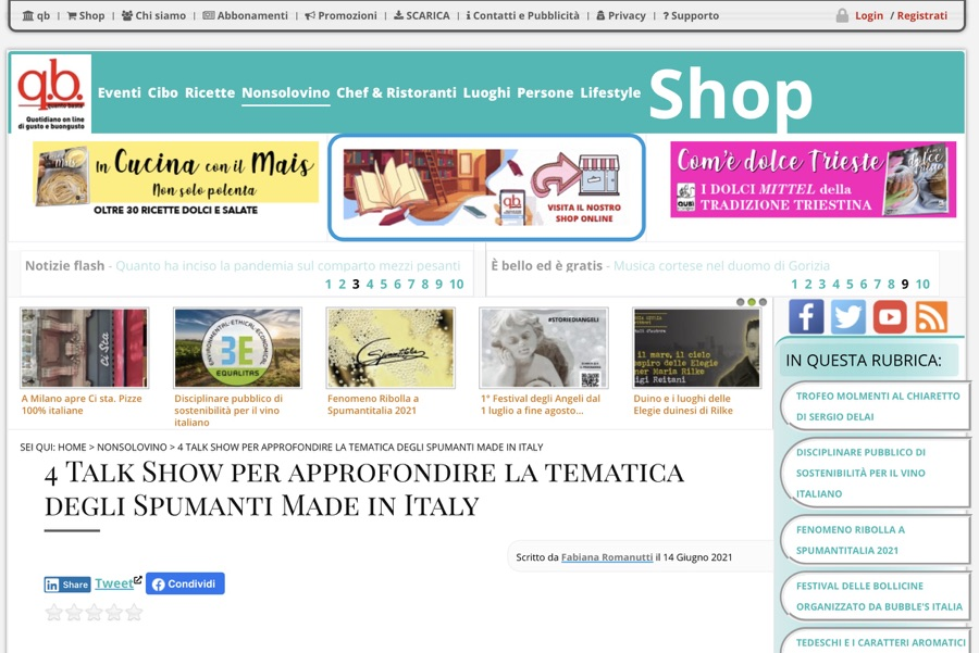 Quantobasta.it: 4 Talk Show per approfondire la tematica degli Spumanti Made in Italy