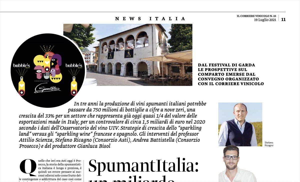Corriere Vinicolo –  Spumantitalia: un miliardo di bollicine? Si può fare
